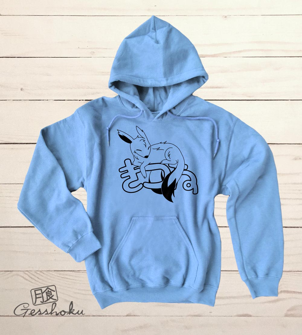 Sleepy Kitsune Pullover Hoodie - Light Blue