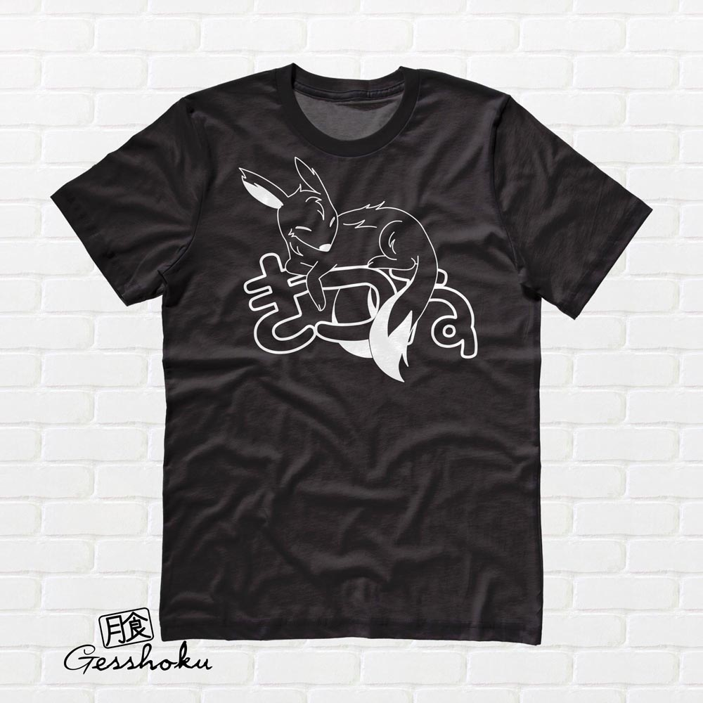 Sleepy Kitsune T-shirt - Black