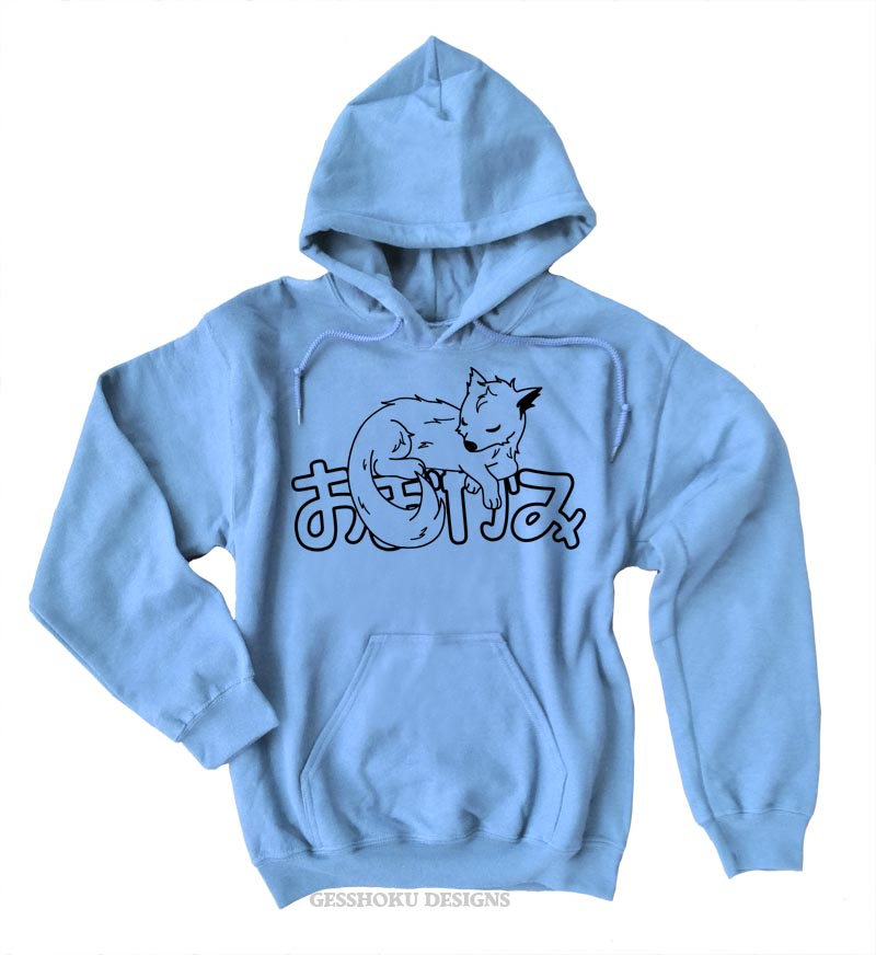 Sleepy Wolf Pullover Hoodie - Light Blue