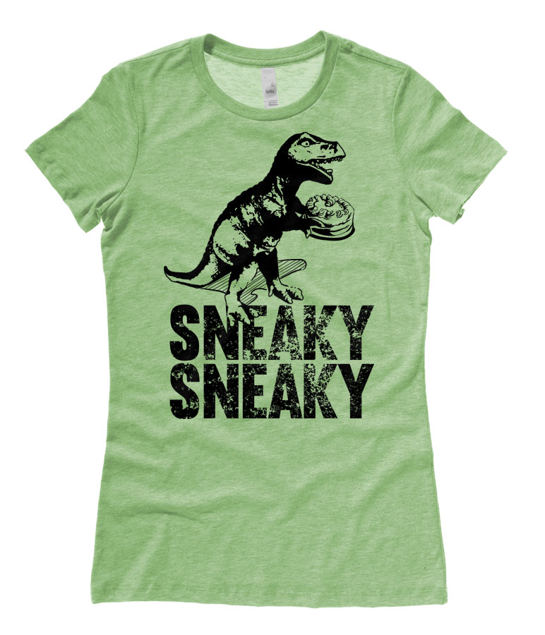 Sneaky Dino Ladies T-shirt - Heather Green