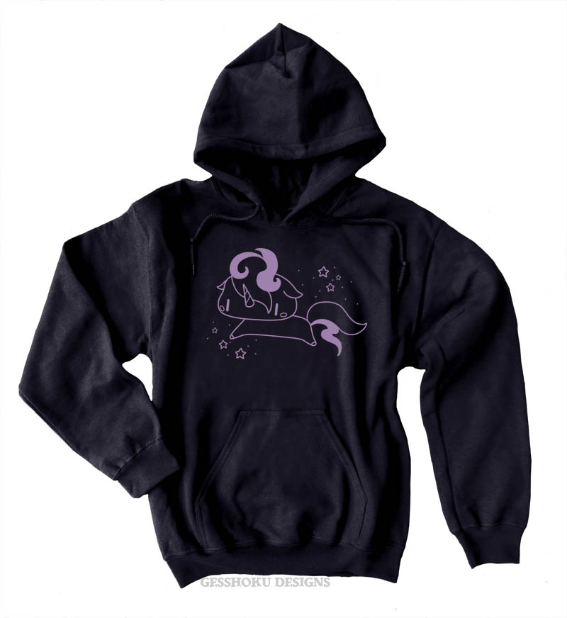Sparkly Unicorn Pullover Hoodie - Black