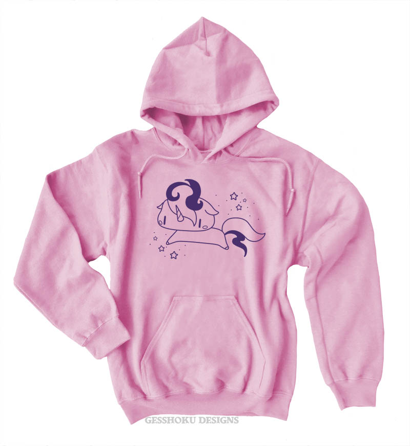 Sparkly Unicorn Pullover Hoodie - Light Pink