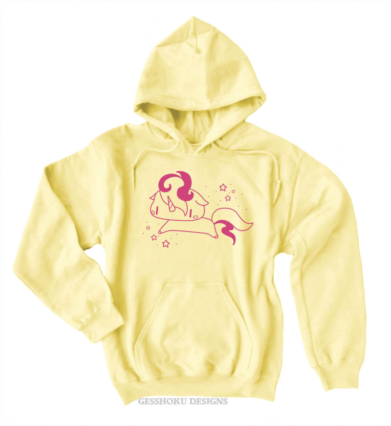 Sparkly Unicorn Pullover Hoodie - Yellow