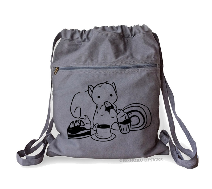 Squirrels and Sweets Cinch Backpack - Smoke Grey