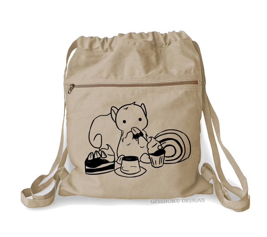 Squirrels and Sweets Cinch Backpack - Natural