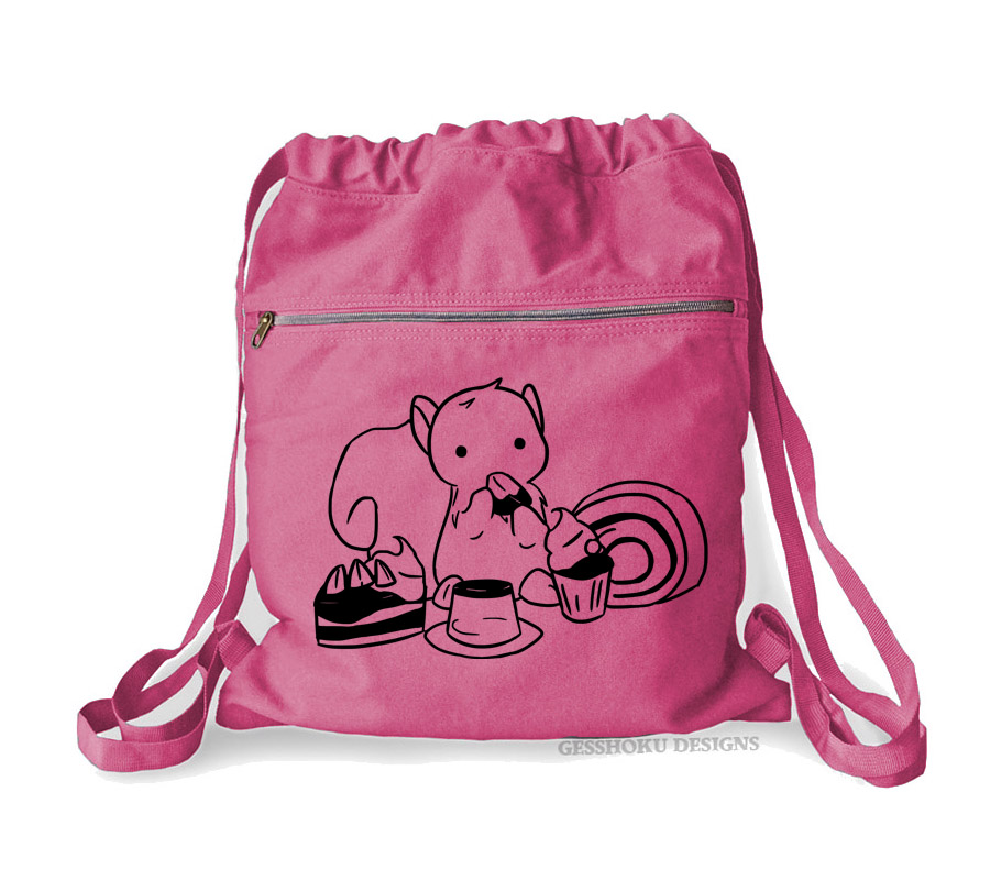 Squirrels and Sweets Cinch Backpack - Raspberry