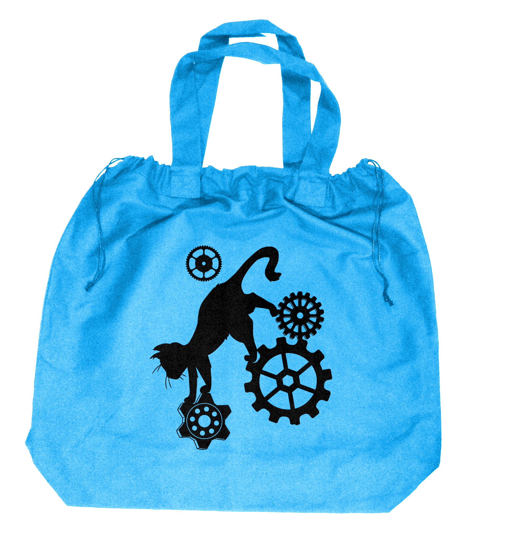 Steampunk Cat Extra-Large Drawstring Beach Bag - Aqua Blue