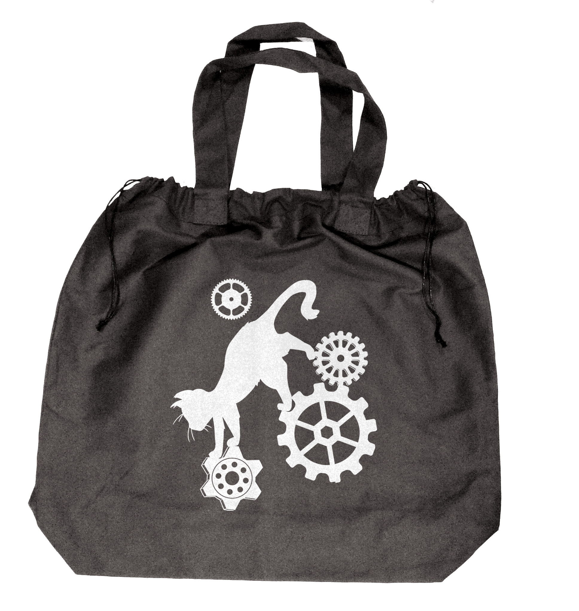 Steampunk Cat Extra-Large Drawstring Beach Bag - Black