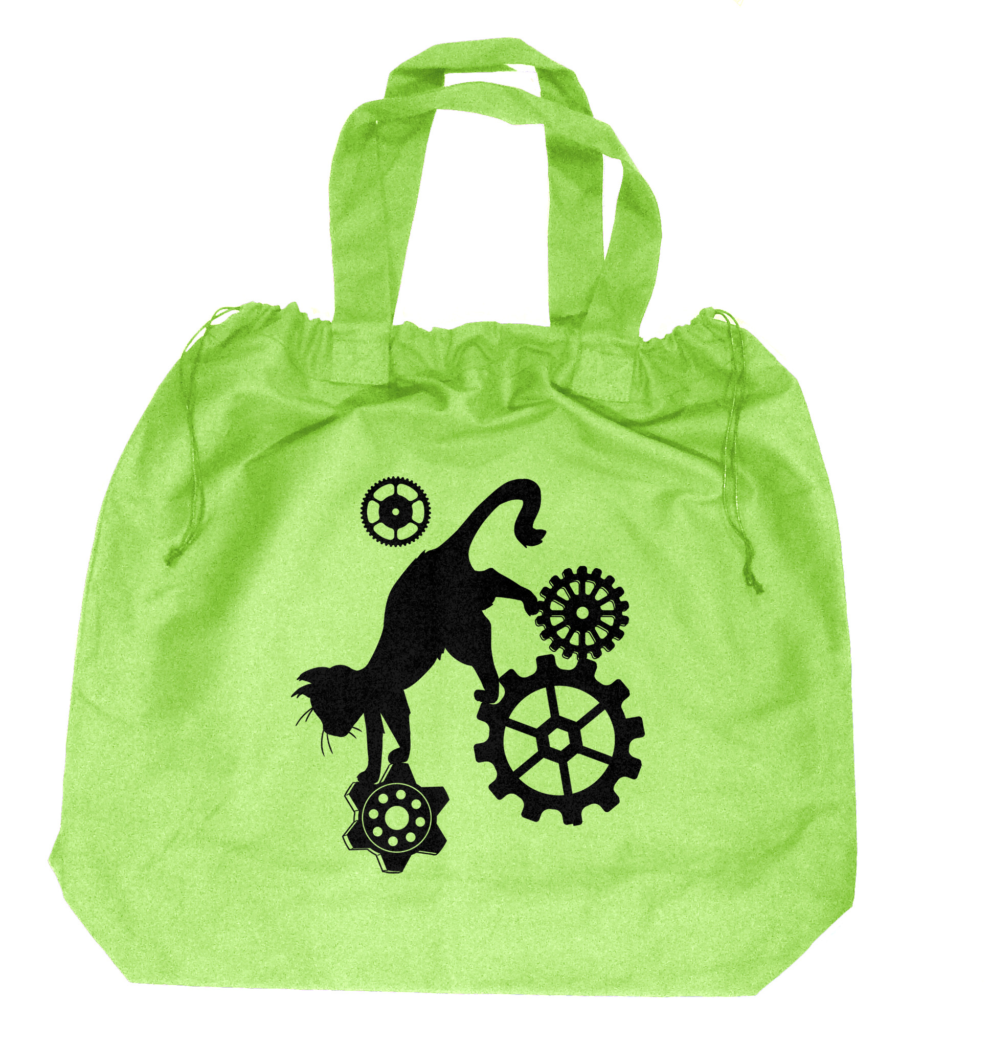 Steampunk Cat Extra-Large Drawstring Beach Bag - Lime Green