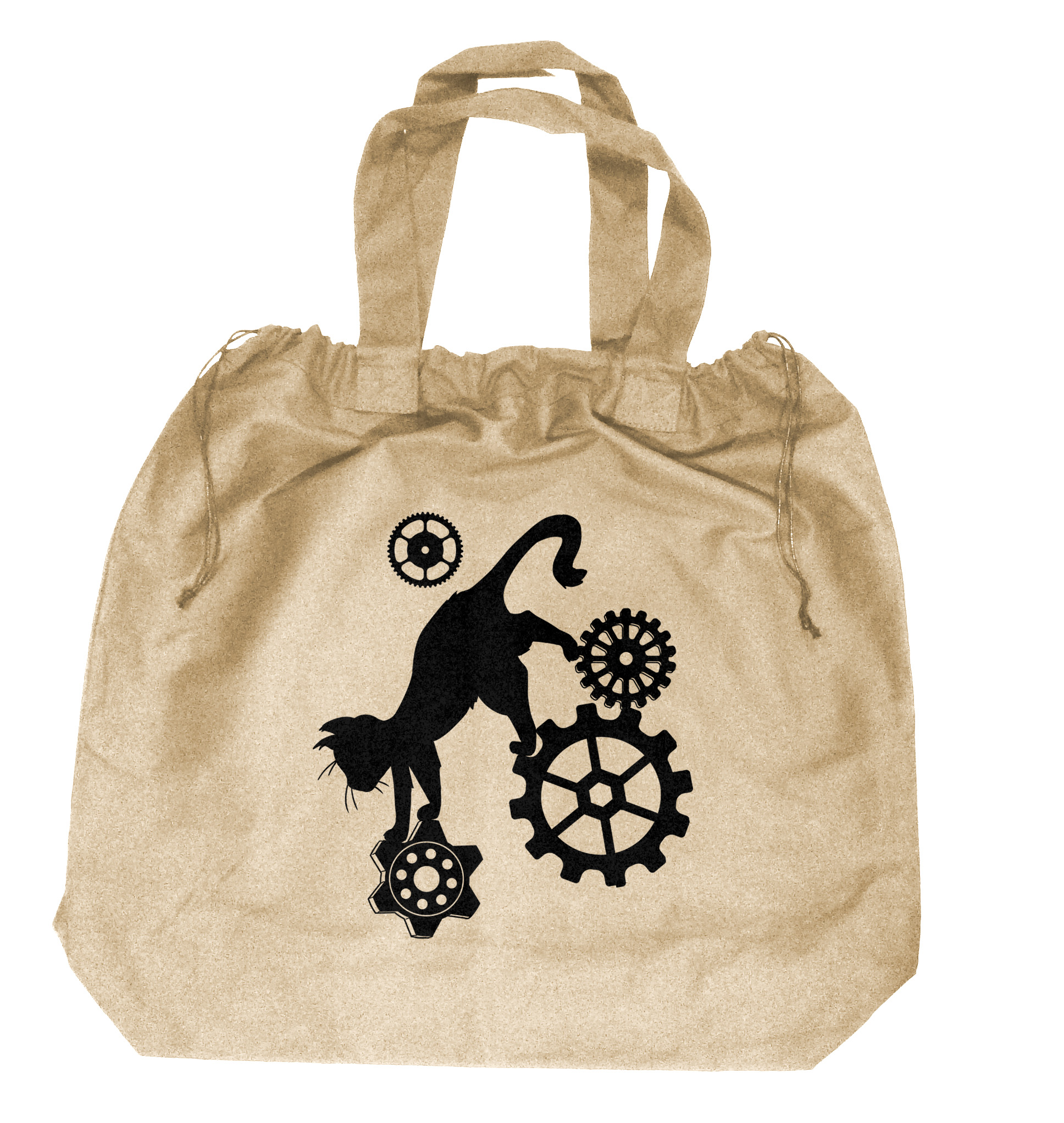 Steampunk Cat Extra-Large Drawstring Beach Bag - Natural
