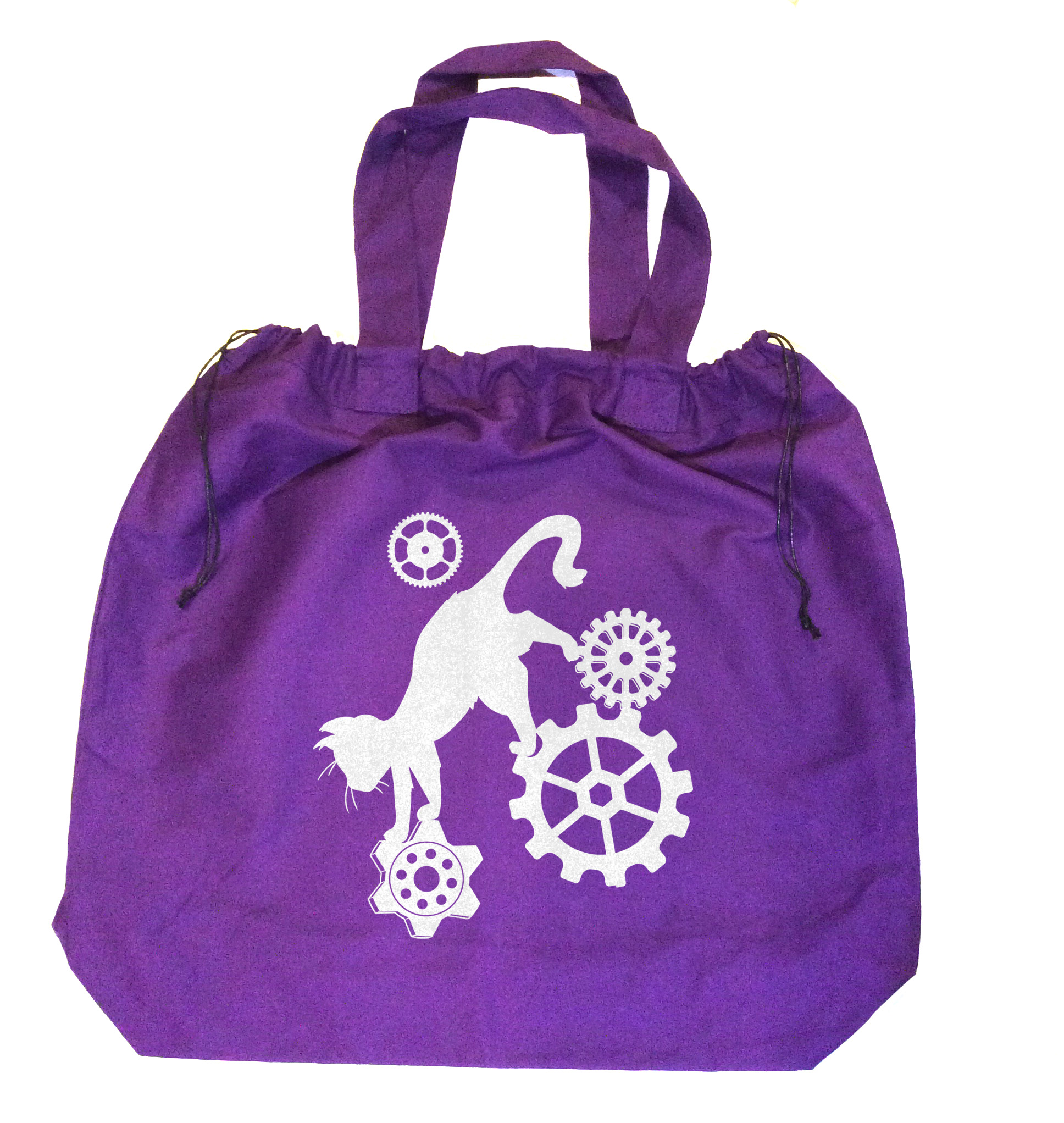 Steampunk Cat Extra-Large Drawstring Beach Bag - Purple