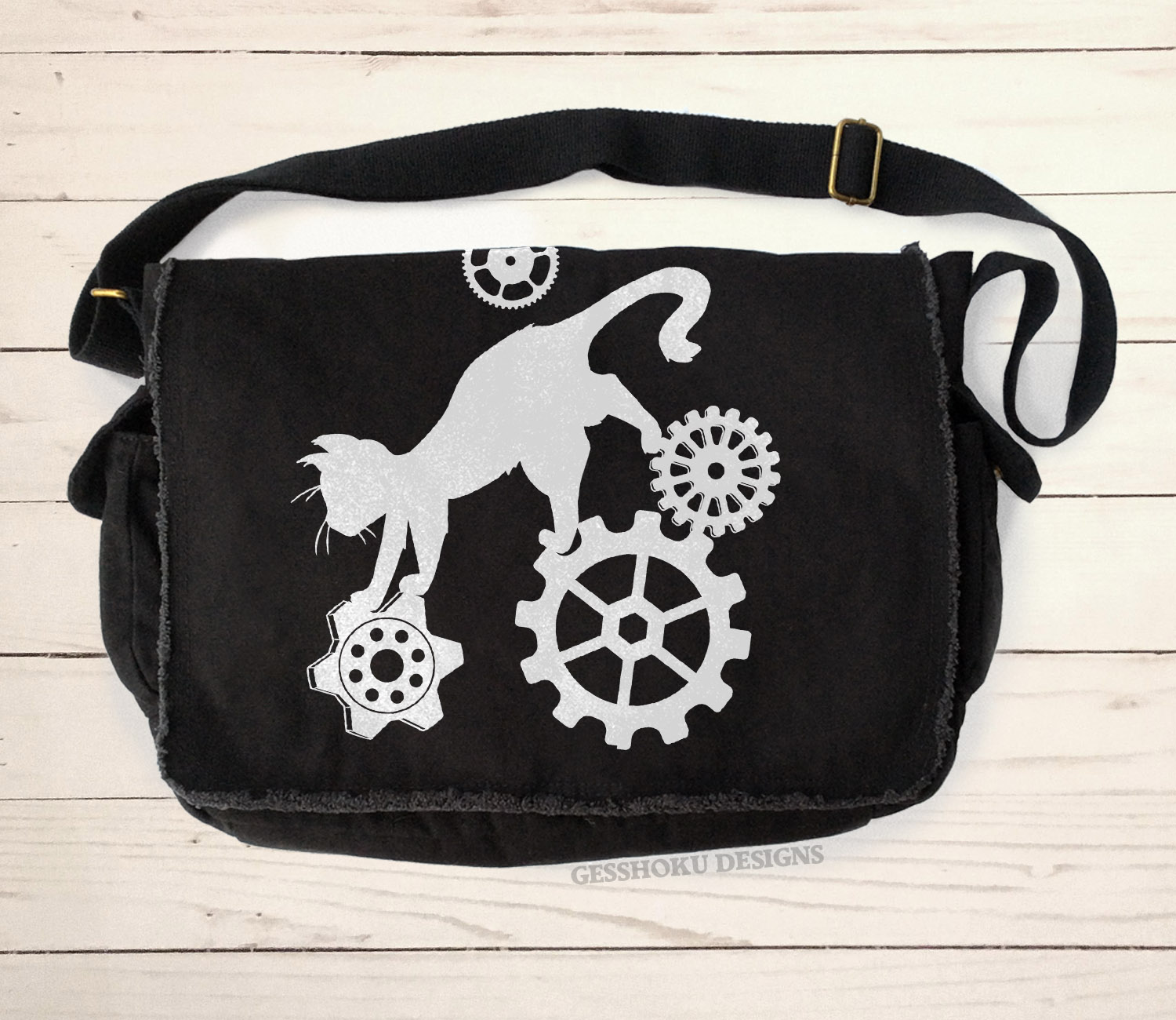 Steampunk Cat Messenger Bag - Black