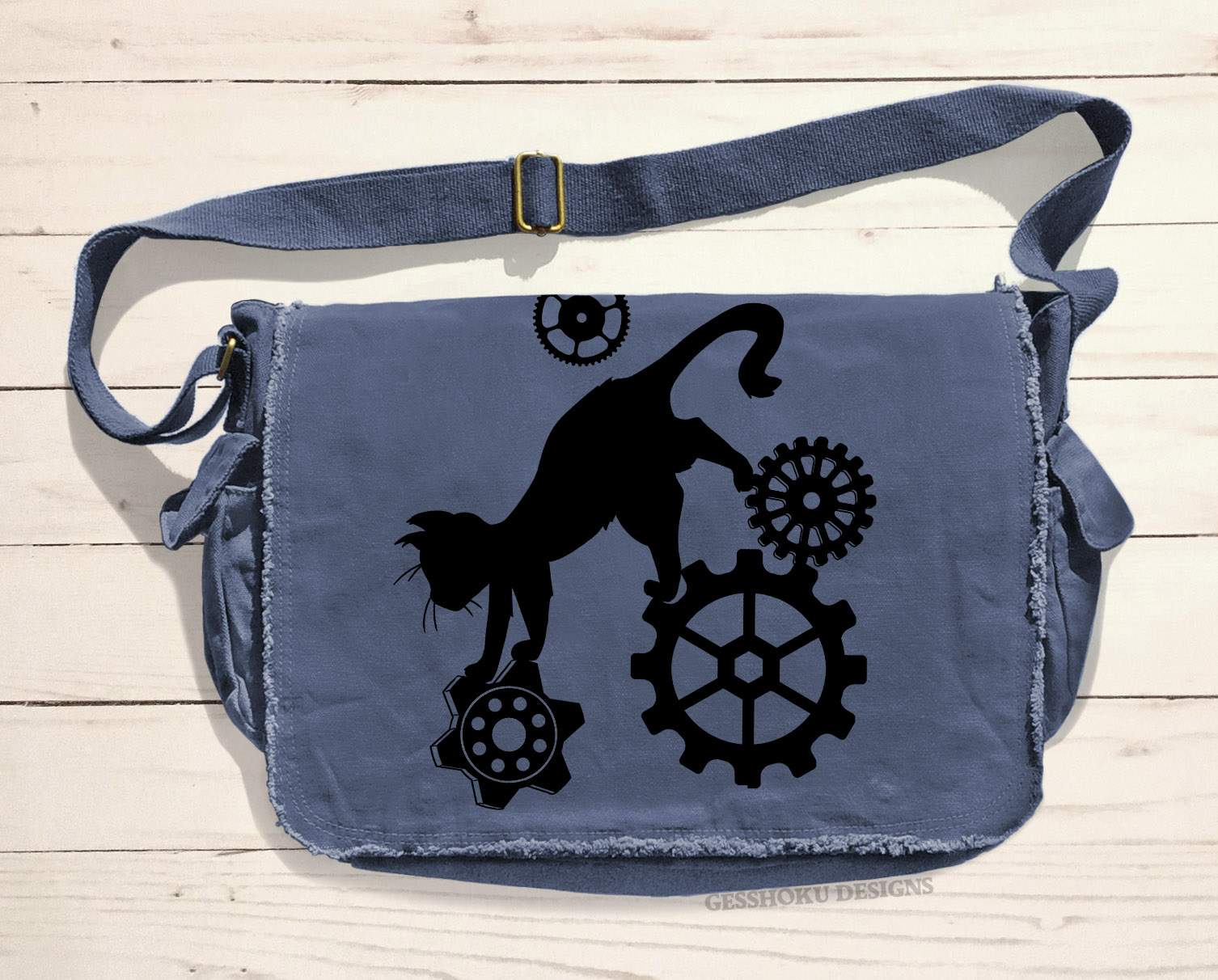 Steampunk Cat Messenger Bag - Denim Blue