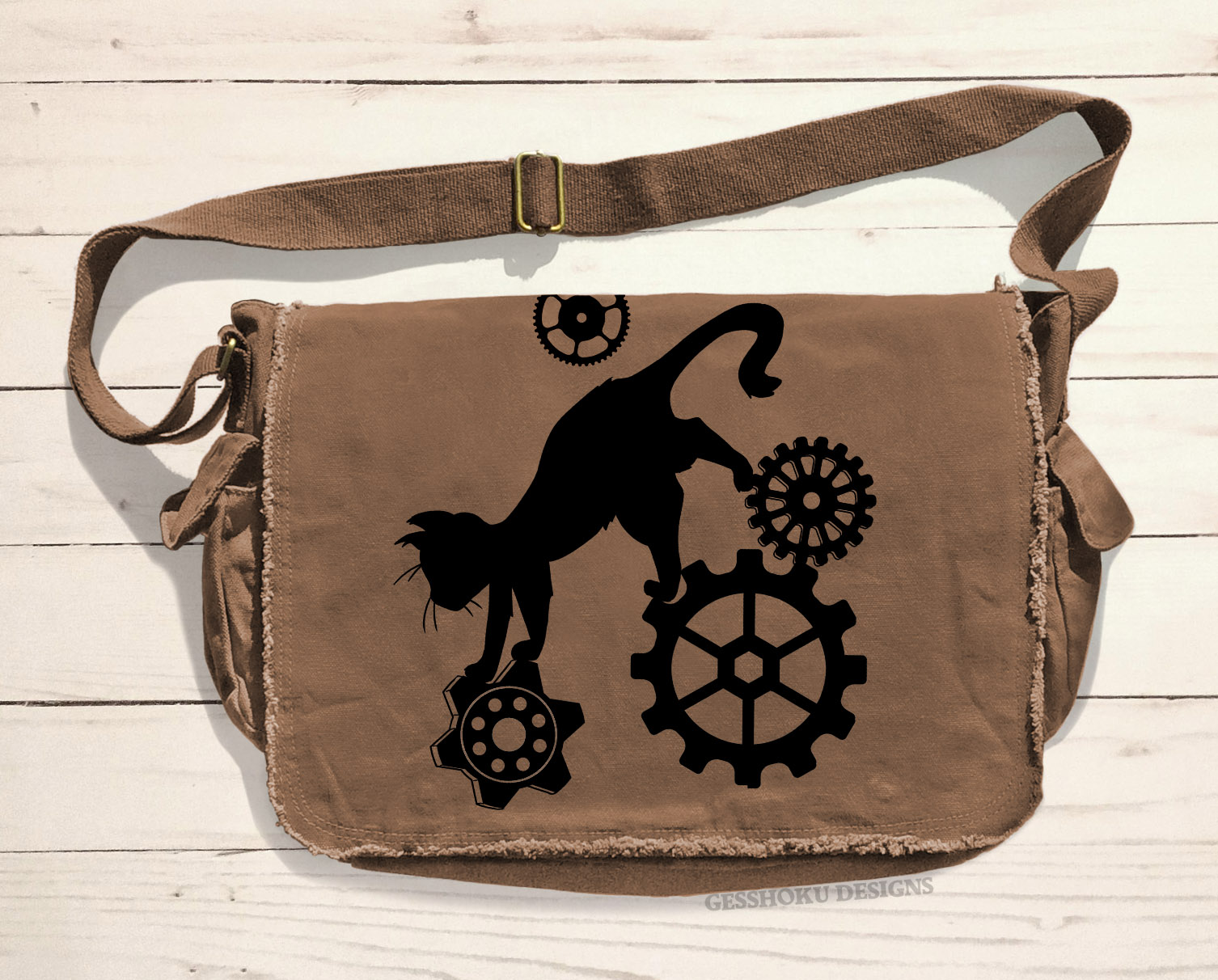 Steampunk Cat Messenger Bag - Brown