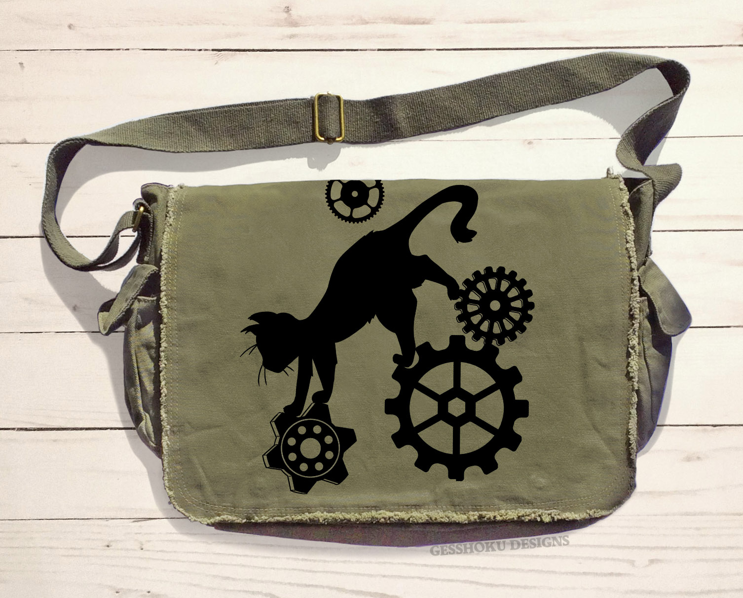 Steampunk Cat Messenger Bag - Khaki Green