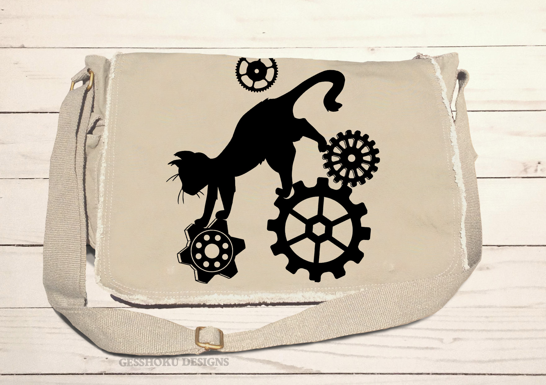 Steampunk Cat Messenger Bag - Natural
