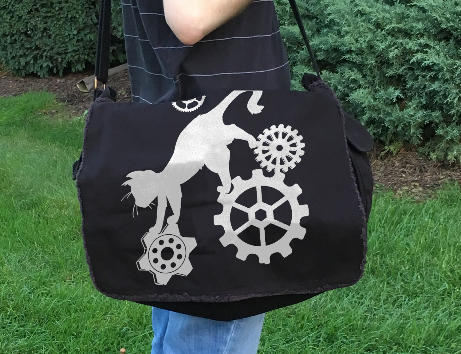 Steampunk Cat Messenger Bag -