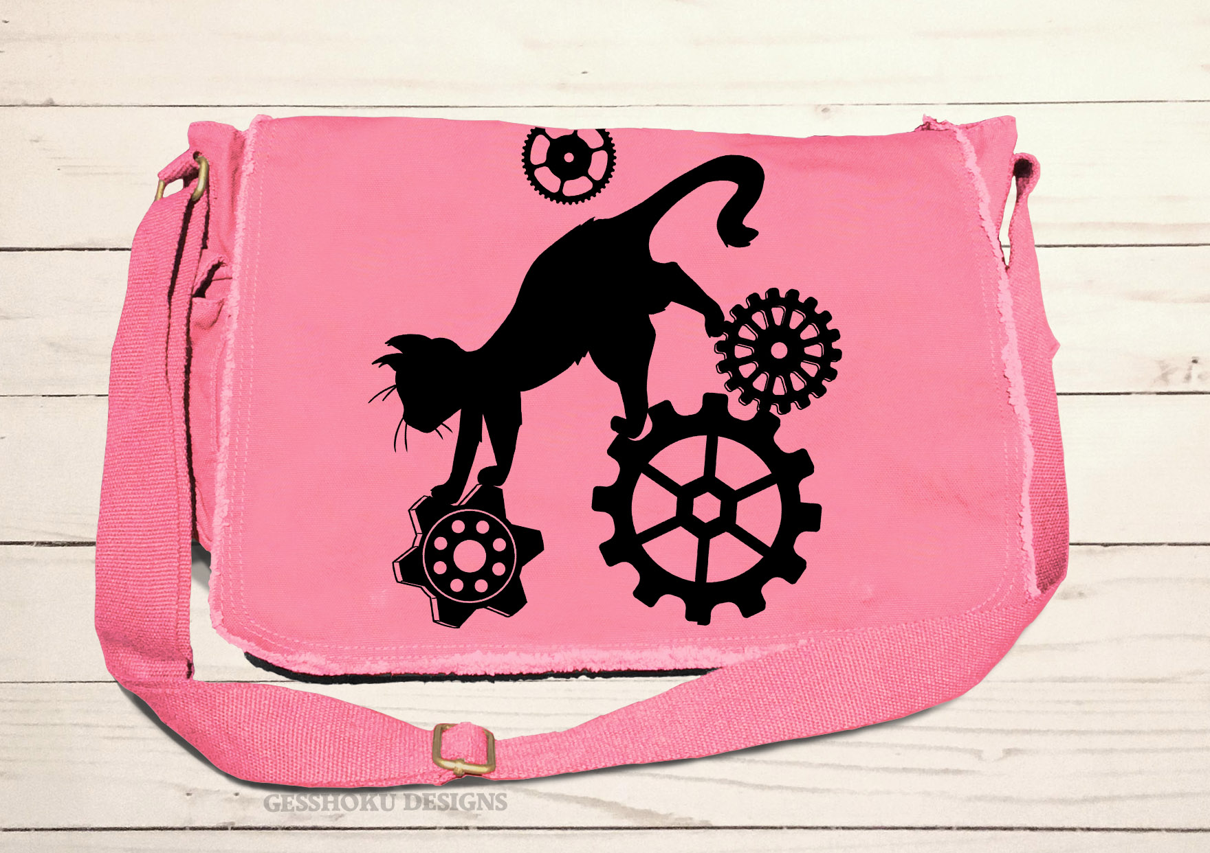 Steampunk Cat Messenger Bag - Pink