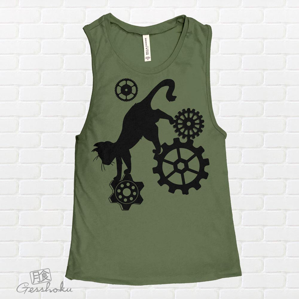 Steampunk Cat Sleeveless Tank Top - Olive Green