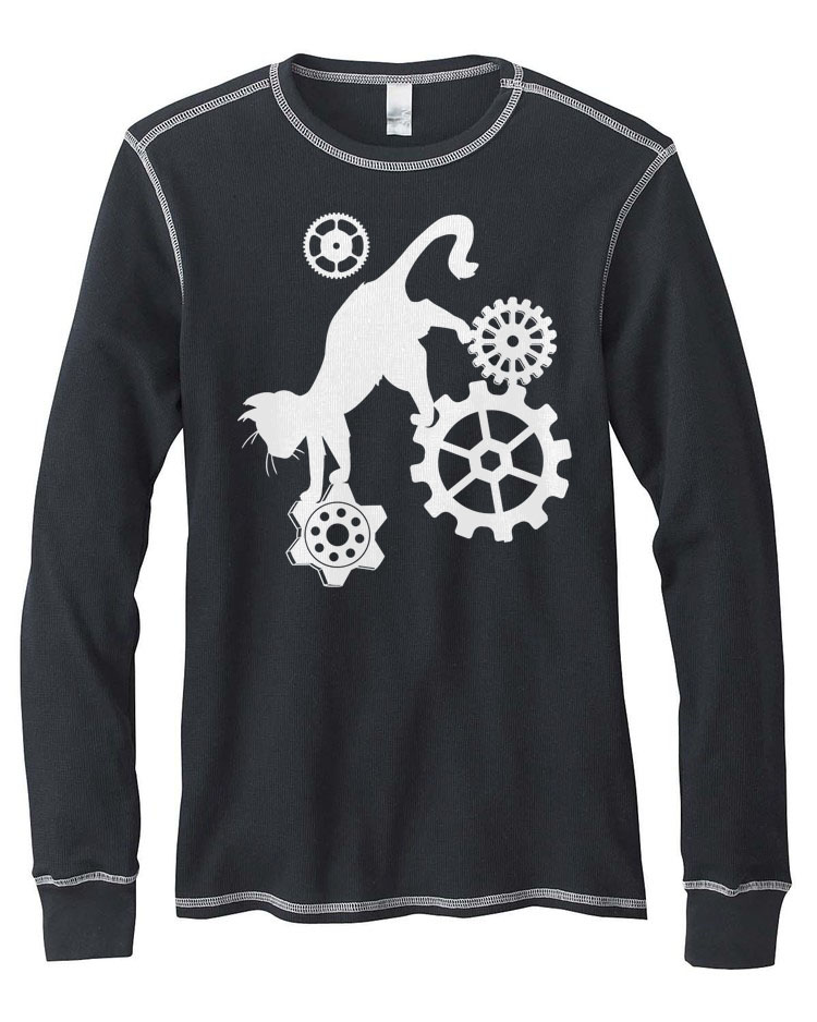 Steampunk Cat Mens Thermal Long Sleeve Shirt - Black