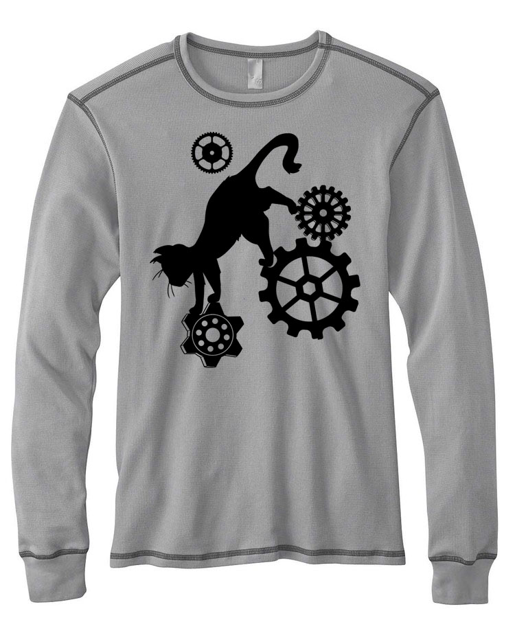 Steampunk Cat Mens Thermal Long Sleeve Shirt - Light Grey