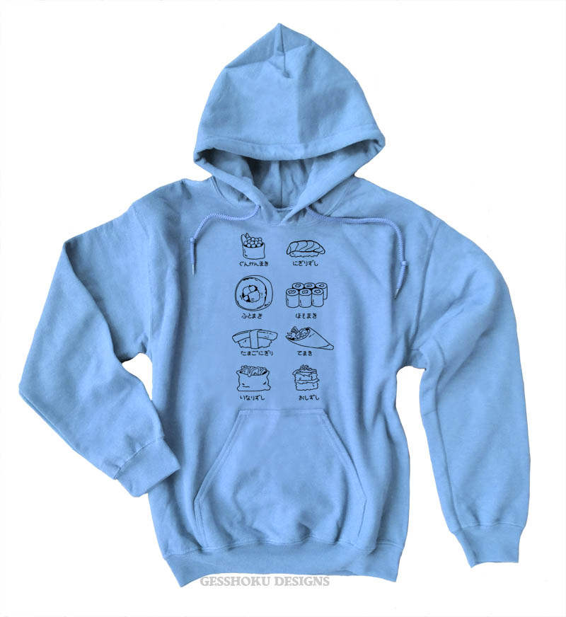 Sushi Types Pullover Hoodie - Light Blue