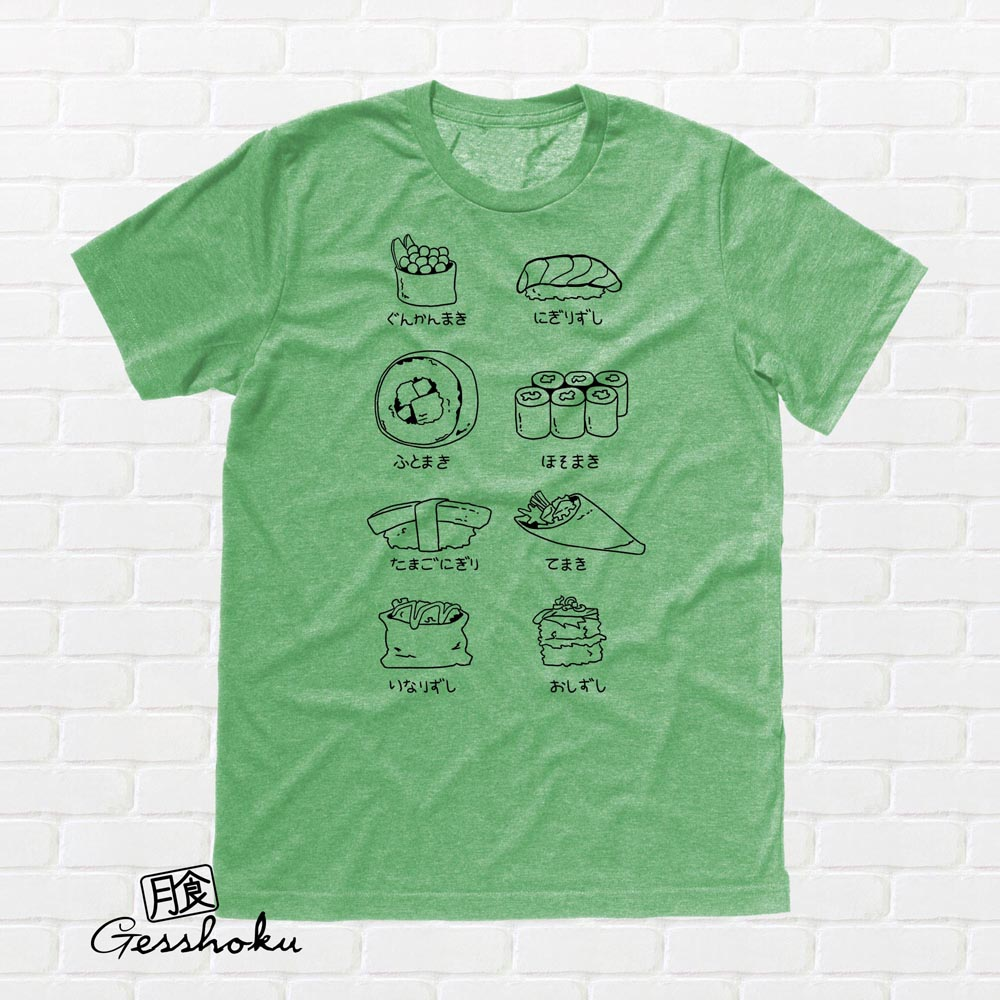 Sushi Types T-shirt - Heather Green