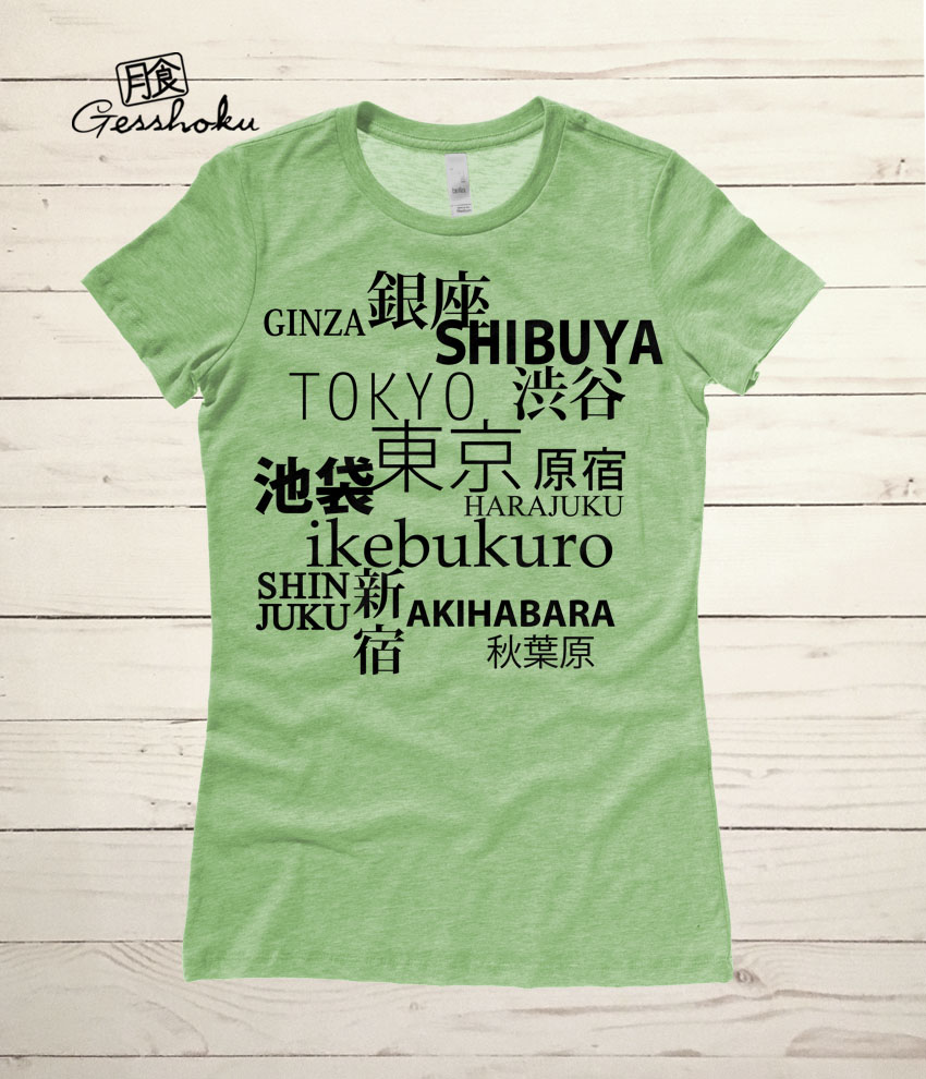 Tokyo Love Ladies T-shirt - Heather Green