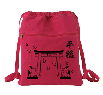 Tranquility Shrine Gate Cinch Backpack - Red
