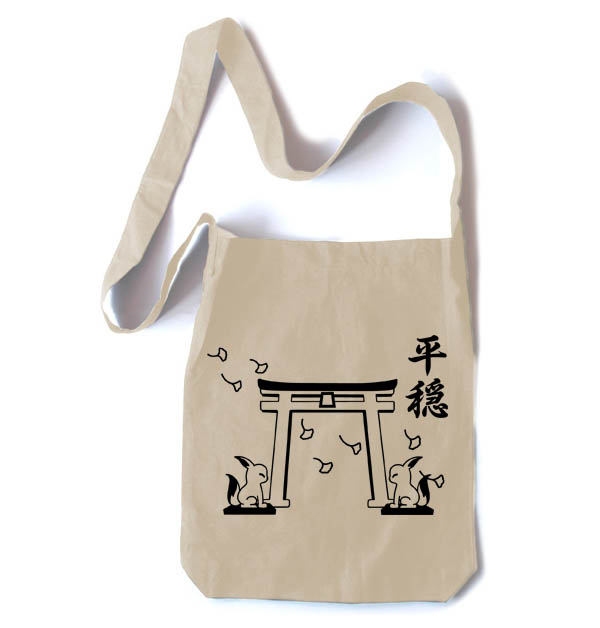 Tranquility Shrine Gate Crossbody Tote Bag - Natural