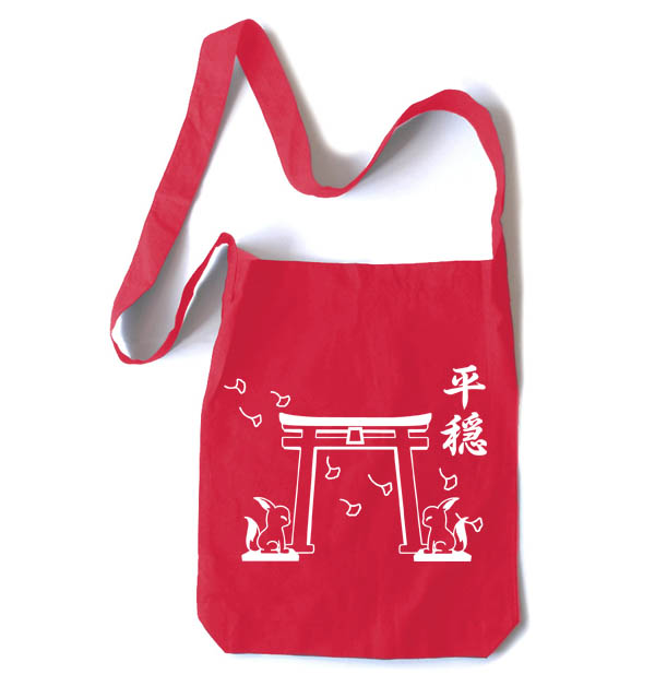 Tranquility Shrine Gate Crossbody Tote Bag - Red