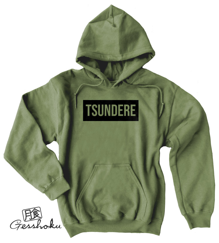Tsundere Pullover Hoodie - Olive Green