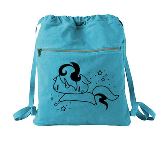 Sparkly Unicorn Cinch Backpack - Aqua Blue