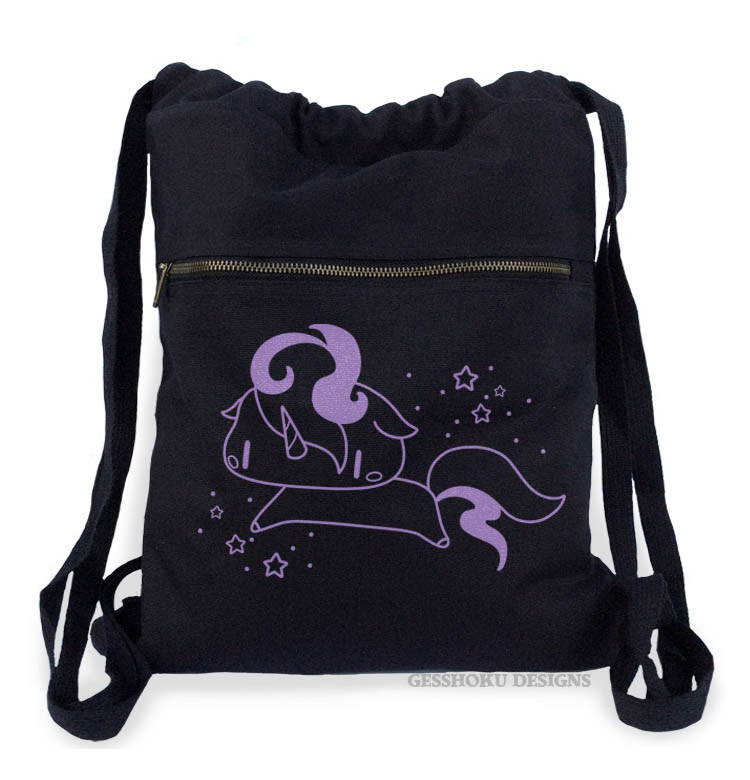 Sparkly Unicorn Cinch Backpack - Purple/Black