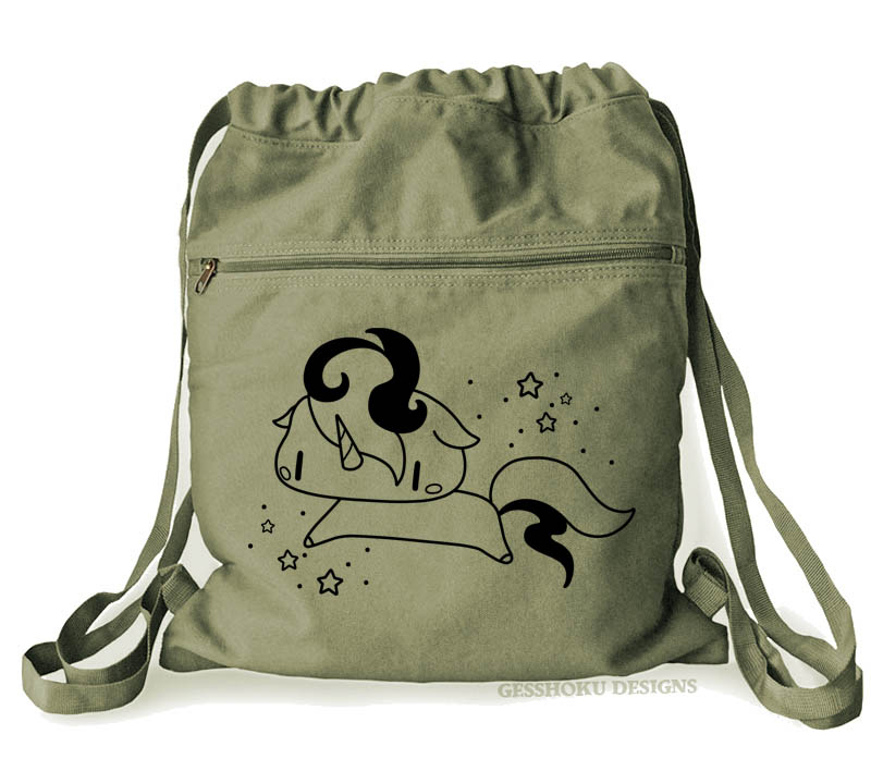 Sparkly Unicorn Cinch Backpack - Khaki Green