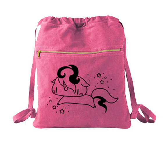 Sparkly Unicorn Cinch Backpack - Raspberry