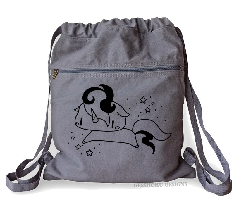 Sparkly Unicorn Cinch Backpack - Smoke Grey