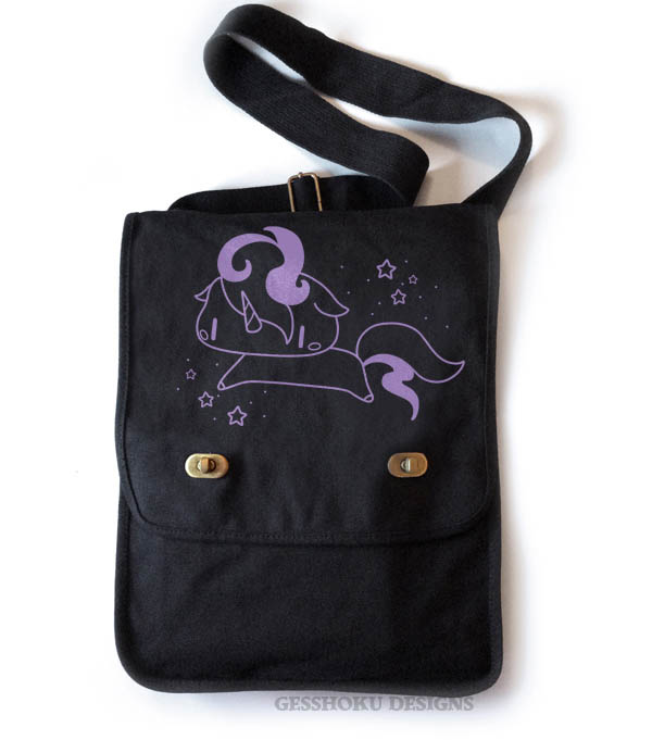 Sparkly Unicorn Field Bag - Black