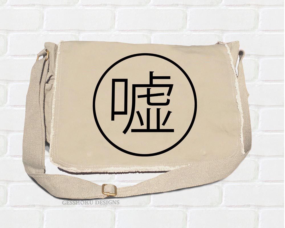 "Uso ""Lie"" Kanji Messenger Bag - Natural"