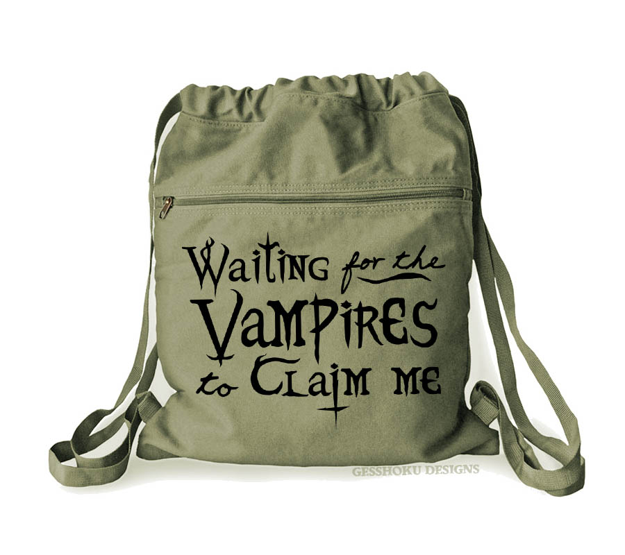 Waiting for the Vampires Cinch Backpack - Khaki Green
