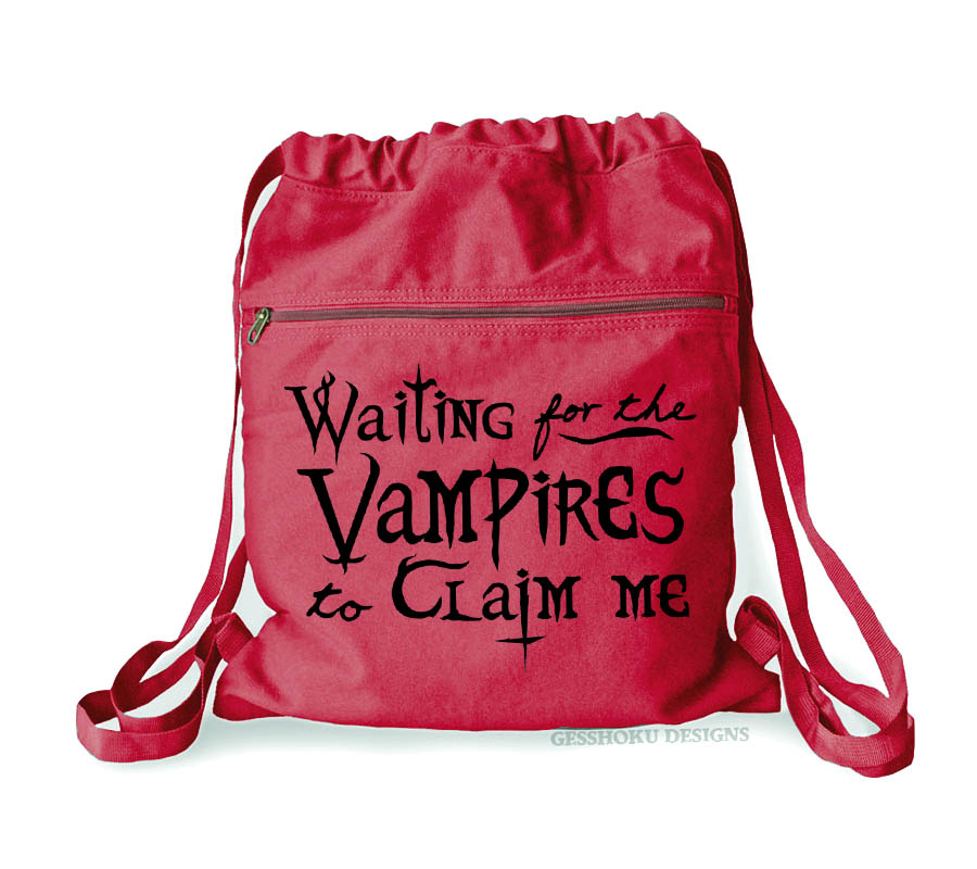 Waiting for the Vampires Cinch Backpack - Red