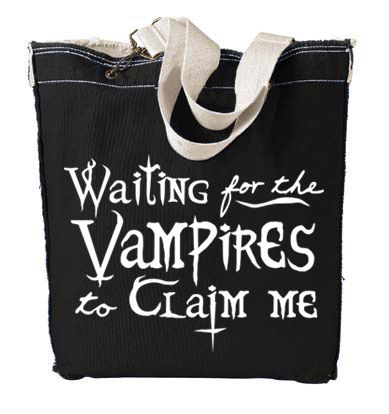Waiting for the Vampires to Claim Me Designer Tote Bag - Black