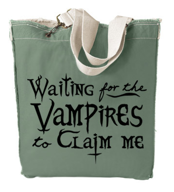 Waiting for the Vampires to Claim Me Designer Tote Bag - Leaf Green