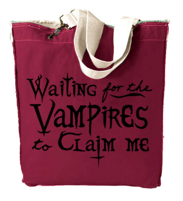 Waiting for the Vampires to Claim Me Designer Tote Bag - Red