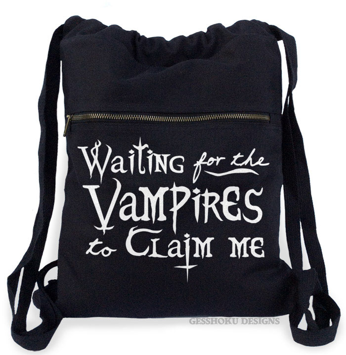Waiting for the Vampires Cinch Backpack - Black