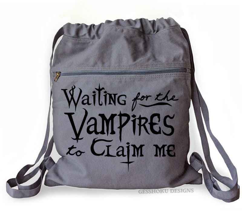 Waiting for the Vampires Cinch Backpack - Smoke Grey