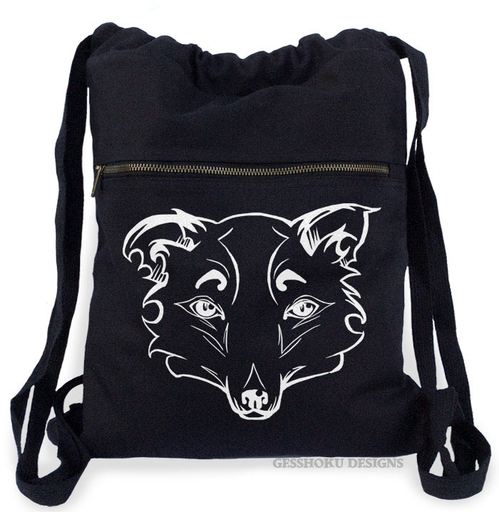 Mysterious Wise Kitsune Cinch Backpack - Black