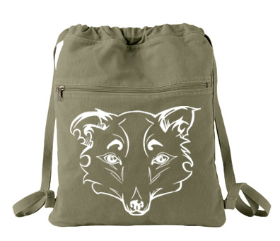 Mysterious Wise Kitsune Cinch Backpack - Khaki Green