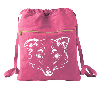 Mysterious Wise Kitsune Cinch Backpack - Raspberry