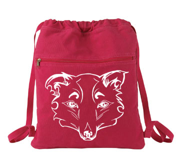 Mysterious Wise Kitsune Cinch Backpack - Red